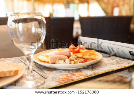 breakfast in the hotel - stock photo