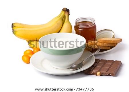 breakfast ingredients isolated on white background - stock photo