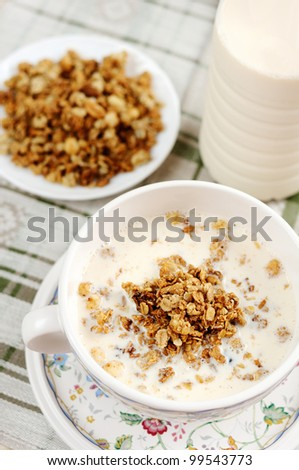Breakfast - Muesli with milk