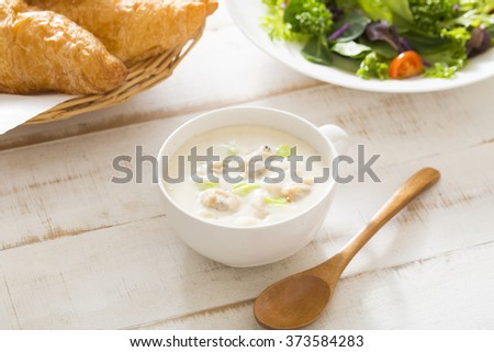 Breakfast of clam chowder