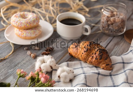 breakfast of coffee - stock photo