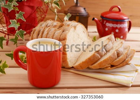 Breakfast of coffee and breads - stock photo