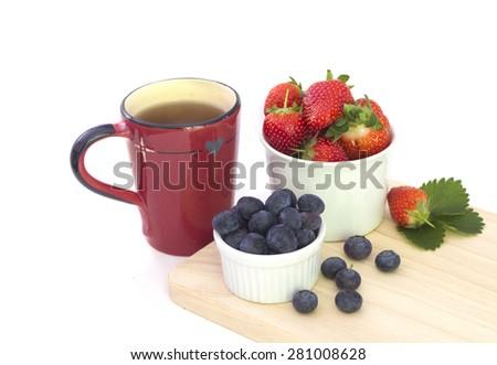 Breakfast on white - stock photo