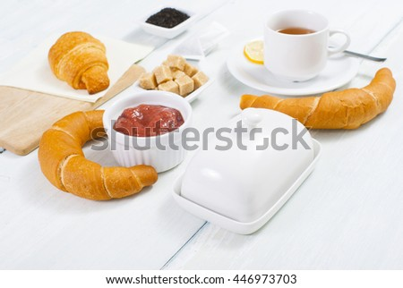breakfast on white wood table
