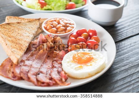 breakfast on wood table