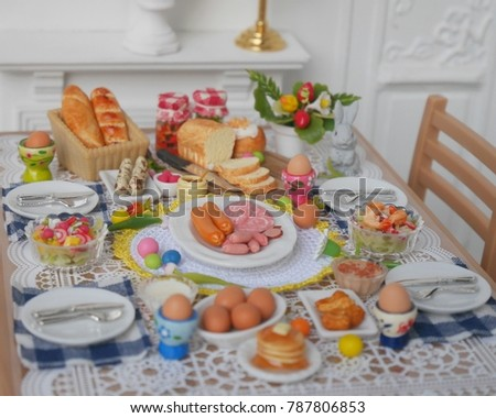 breakfast or brunch table setting for easter meal with friends and family around the table & Breakfast Brunch Table Setting Easter Meal Stock Photo (Royalty Free ...