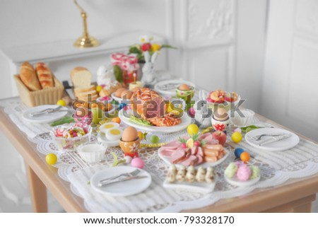 breakfast or brunch table setting for easter meal with friends and family around the table top & Breakfast Brunch Table Setting Easter Meal Stock Photo (100% Legal ...