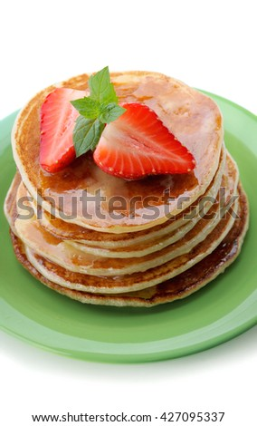 Breakfast.Pancakes with  strawberry .