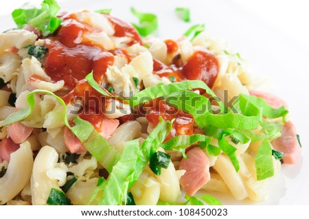 breakfast pasta with different ingredients and sauce isolated