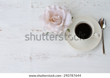 Breakfast romantic table with copy or text space - stock photo