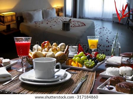 Breakfast room hotel - stock photo