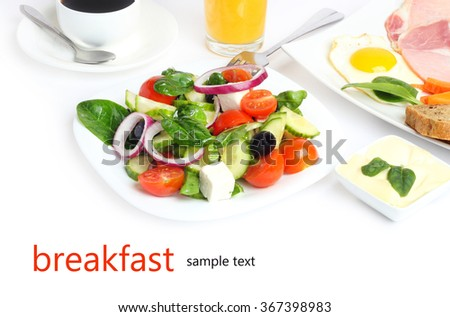 breakfast salad vegetables fruit food isolated on white background