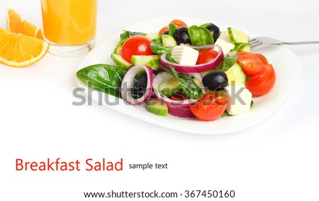 breakfast salad vegetables fruit food isolated white background