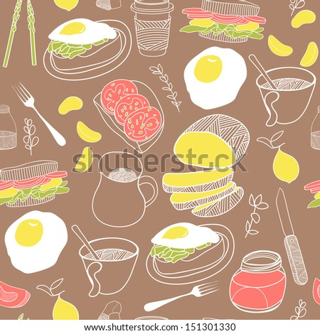 Breakfast seamless pattern. Hand drawn theme. Good for backgrounds, fabric, kitchen and cafe stuff - stock photo