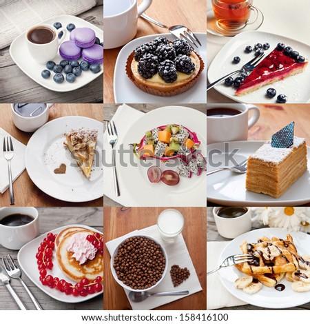 Breakfast set (collage) - stock photo