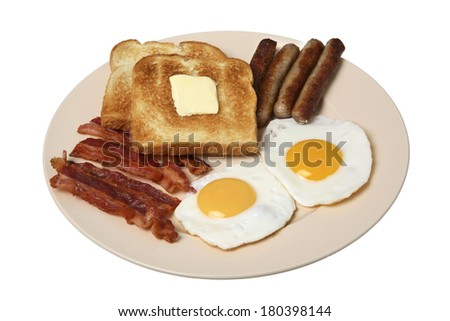 Breakfast still life with bacon, fried eggs, sausage, and buttered toast on plate with white background - stock photo