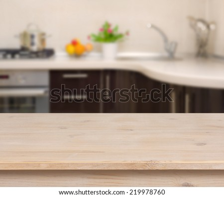 Kitchen Table Background wooden table on blurred kitchen bench stock photo 215203330