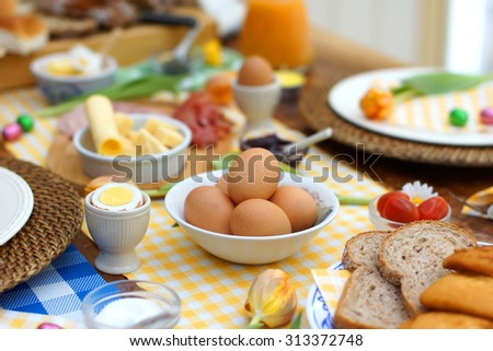 breakfast table with all sorts of healthy ingredients - stock photo