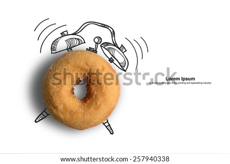 breakfast time,donut with clock sign concept design background with clipping path - stock photo