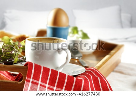 breakfast time in bed and coffee  - stock photo