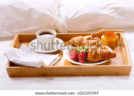 Breakfast Trays For Bed Best Breakfast Tray Bed Coffee Croissants Fresh Stock Photo Royalty Free