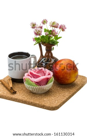 Breakfast wirh coffee, marzipan and peach isolated - stock photo
