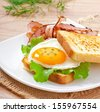 breakfast with bread - stock photo