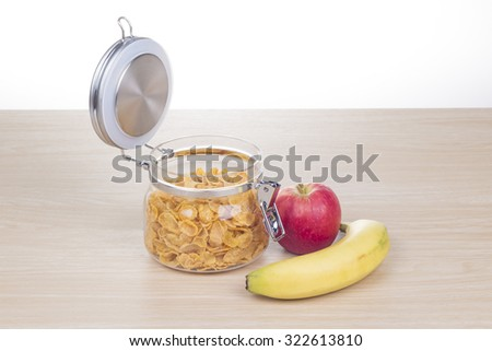 breakfast with cereal,  apple and banana - stock photo