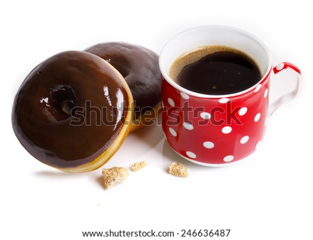 Breakfast with coffee and donuts