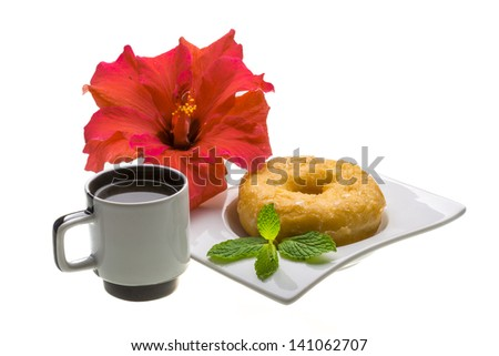 Breakfast with coffee and pastry