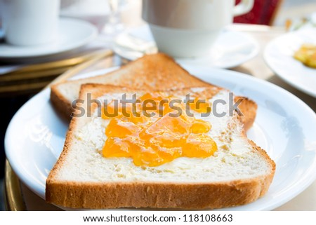 Breakfast with coffee and Toast