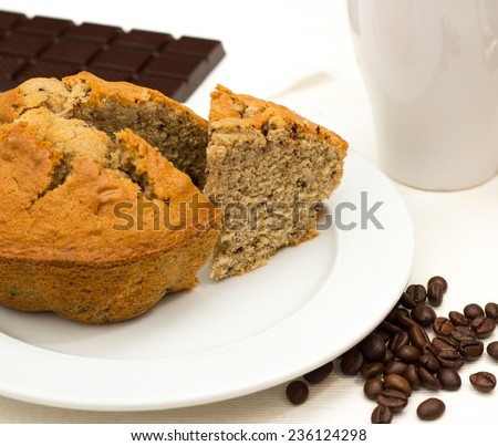 breakfast with coffee cake homemade excellent for a good awakening - stock photo