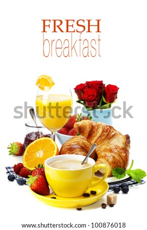 Breakfast with croissants, coffee and orange juice  (with easy removable text) - stock photo