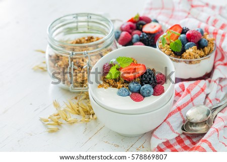 Breakfast with fresh fruits and berries, copy space