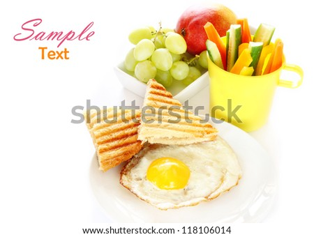 Breakfast with fresh vegetables and  fruits isolated on white - stock photo