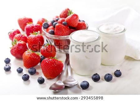 breakfast with greek yogurt with fresh fruits - stock photo