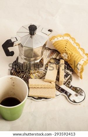 Breakfast with Italian coffee and wafers one white background.