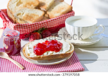 Breakfast with milk and cheese toast with jam - stock photo