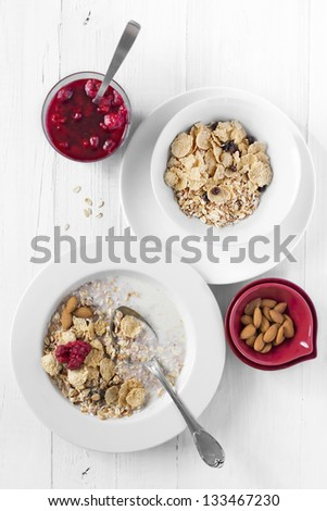 Breakfast with Muesli and Preserves - stock photo