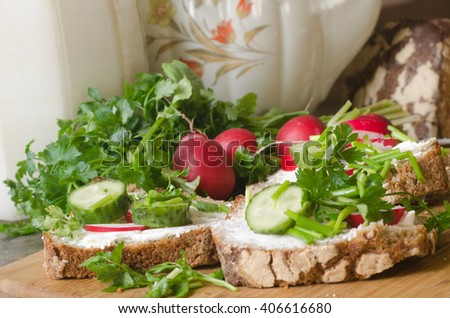 breakfast with spring  fresh vegetables