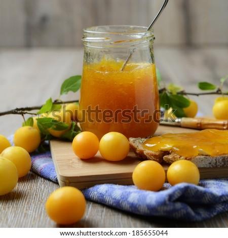 breakfast with wild plum jam - stock photo