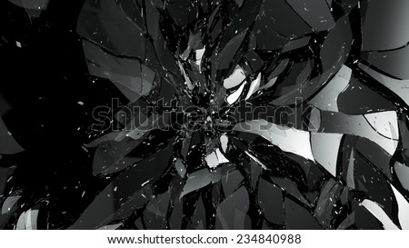 Breaking and Destructed glass on black. Large resolution - stock photo