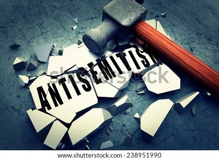 Breaking Antisemitism  - stock photo