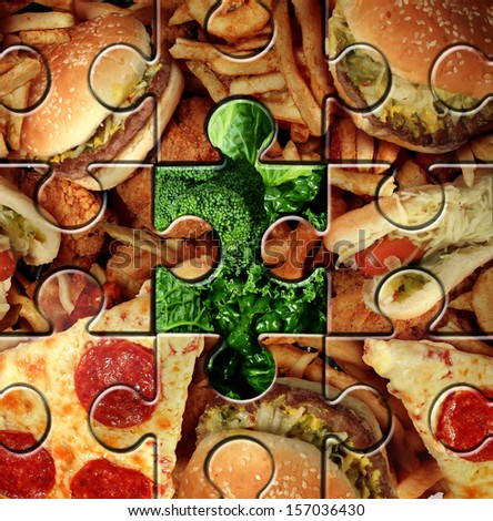 Breaking bad eating habits and choosing the healthy food for a healthier lifestyle as a junk food jigsaw puzzle with one piece replaced with green vegetables as a symbol for changing your diet. - stock photo