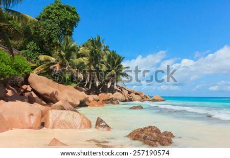 Breaking Big Waves LaDigue Stones  - stock photo