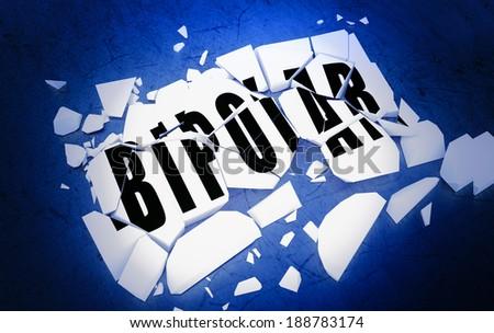 Breaking Bipolar disorder - stock photo