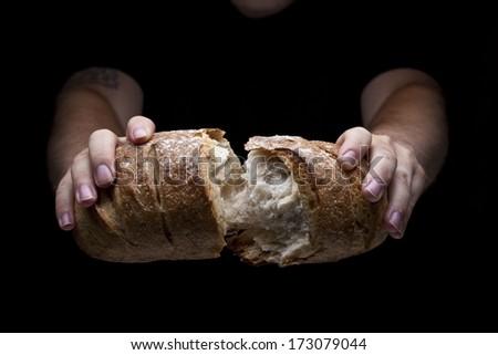 Breaking Bread - stock photo