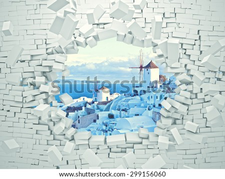 breaking 3d wall and santorini landscape - stock photo
