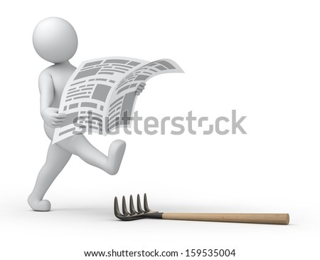 breaking news... 3d human, newspaper and rake - stock photo