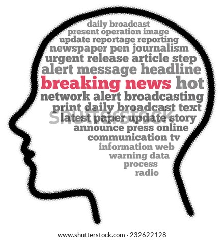 breaking news in word collage - stock photo
